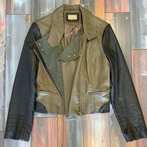 Olive Green / Black Moto Jacket